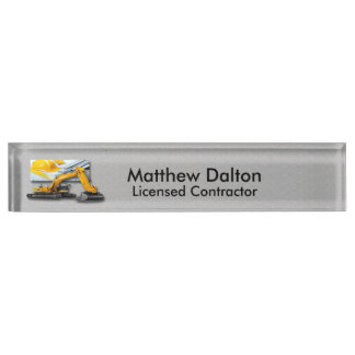 Construction Gray with Backhoe Desk Nameplate