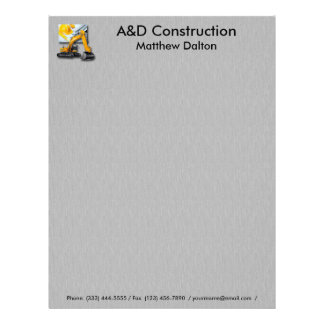 Construction Gray with Backhoe Letterhead