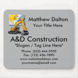 Construction Gray with Backhoe Mouse Pad