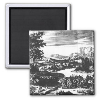 Construction 'Griffon' of Rene Robert Cavelier 2 Inch Square Magnet