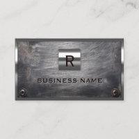 Construction Grunge Steel Monogram Metal Framed Business Card