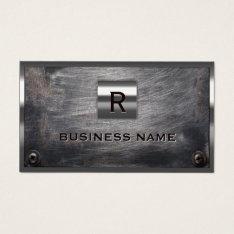 Construction Grunge Steel Monogram Metal Framed Business Card at Zazzle
