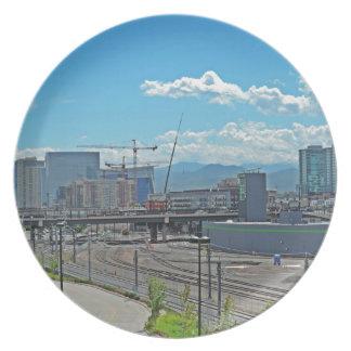 Construction in Downtown Denver Colorado Melamine Plate