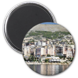 Construction In Sarande Town In Albania Magnets