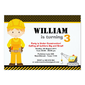 Construction Kids Birthday Party Card
