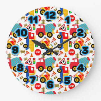 Construction Kids Round (Large) Wall Clock