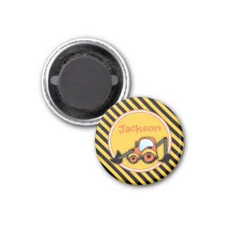 Construction Magnet, Digger Party Favor 1 Inch Round Magnet