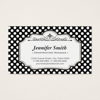 Construction Manager - Black Polka Dots Business Card