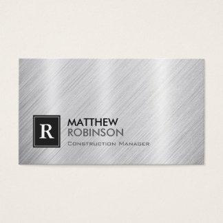 Construction Manager - Brushed Metal Monogram Business Card
