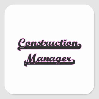 Construction Manager Classic Job Design Square Sticker