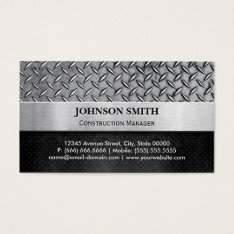 Construction Manager - Diamond Metal Plate Business Card at Zazzle