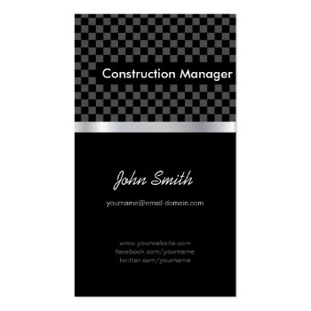 Construction Manager - Elegant Black Checkered Business Cards