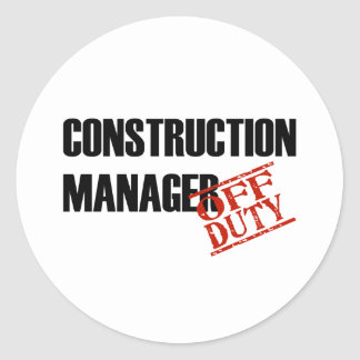 CONSTRUCTION MANAGER LIGHT CLASSIC ROUND STICKER