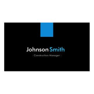 Construction Manager Modern Aqua Blue Double-Sided Standard Business Cards (Pack Of 100)