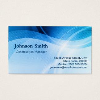 Construction Manager - Modern Blue Creative Business Card