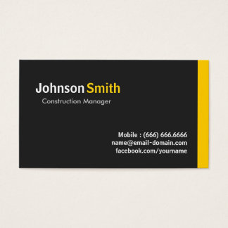 Construction Manager - Modern Minimalist Amber Business Card
