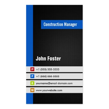 Construction Manager - Modern Stylish Blue Business Card