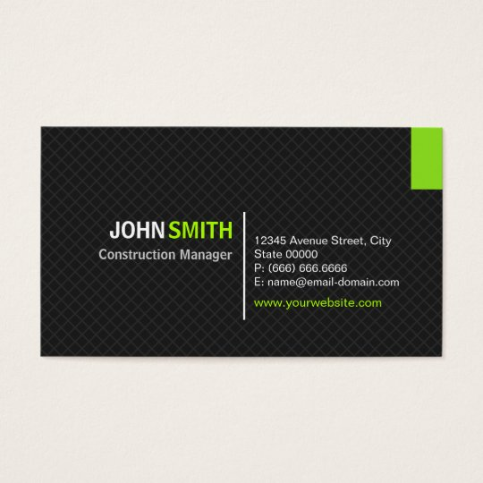 Construction manager modern twill grid business card for Business card management