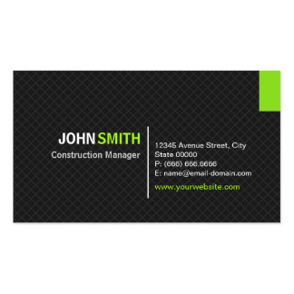 Construction Manager - Modern Twill Grid Double-Sided Standard Business Cards (Pack Of 100)