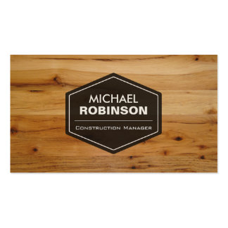 Construction Manager - Modern Wood Grain Look Double-Sided Standard Business Cards (Pack Of 100)