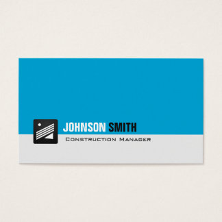 Construction Manager - Personal Aqua Blue Business Card