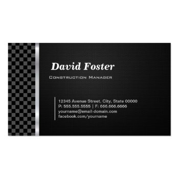 Construction Manager Professional Black White Business Card Templates