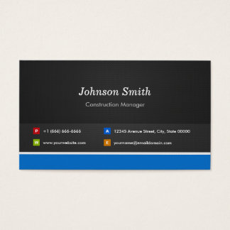 Construction Manager - Professional Customizable Business Card