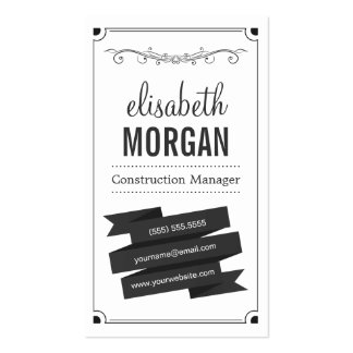 Construction Manager - Retro Black and White Double-Sided Standard Business Cards (Pack Of 100)