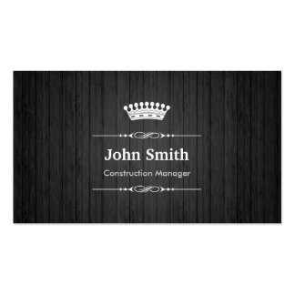 Construction Manager Royal Black Wood Grain Business Card Templates