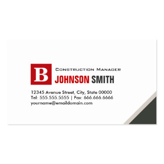 Construction Manager - Simple Chic Red Business Card Template
