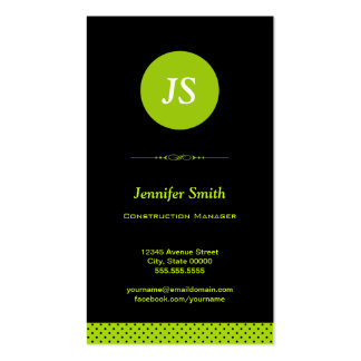 Construction Manager - Stylish Apple Green Business Card