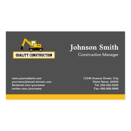 Construction business cards templates free 28 images construction business cards templates free by construction manager yellow excavator business card cheaphphosting Gallery