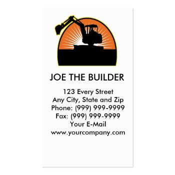 construction mechnical digger excavator business card template