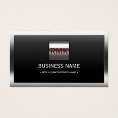 Construction Metal Border Monogram Modern Business Card at Zazzle