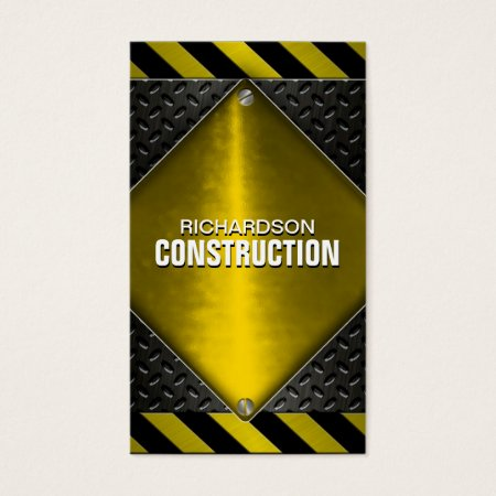 Cool Black and Yellow Textured Metal Construction Business Cards Template