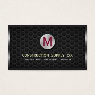 Construction Metal Framed Monogram Dark Metal Grid Business Card