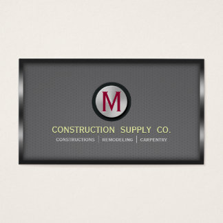 Construction Metal Framed Monogram Gray Metal Grid Business Card