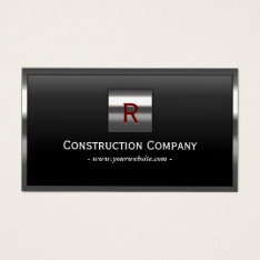 Construction Metal Framed Monogram Professional Business Card at Zazzle