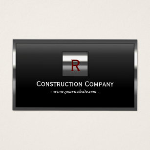 Construction business cards 4400 construction business card templates construction metal framed monogram professional business card wajeb Choice Image