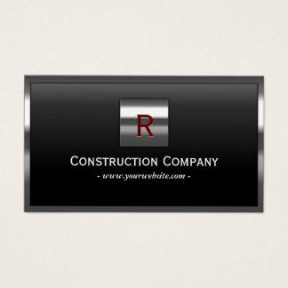 Construction Metal Framed Monogram Professional Business Card