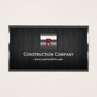Construction Metal & Wood Monogram Professional Business Card