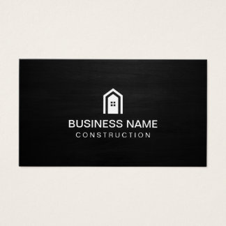 Construction Modern House Logo Dark Wood Business Card