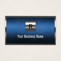 Construction Monogram Blue Metal Border Business Card at Zazzle