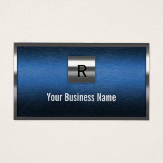 Construction Monogram Blue Metal Border Business Card