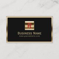 Construction Monogram Gold Framed Professional Business Card