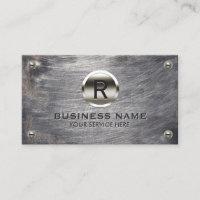 Construction Monogram Steel Logo Grunge Metal Business Card