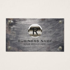 Construction Monogram Steel Logo Grunge Metal Business Card at Zazzle