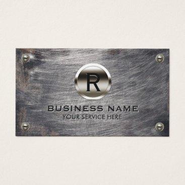 cardfactory Construction Monogram Steel Logo Grunge Metal Business Card