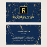 Construction Monogram Trendy Navy & Gold Marble Business Card