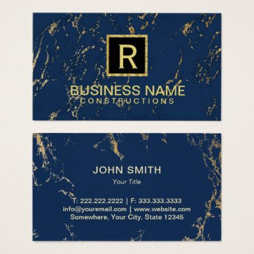 Lawyer Themed Construction Monogram Trendy Navy & Gold Marble Business Card